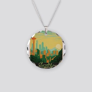 Vintage poster - Seattle Necklace Circle Charm