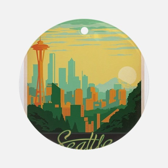 Vintage poster - Seattle Round Ornament