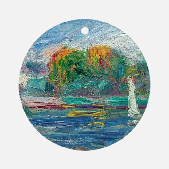 The Blue River by Auguste Renoir Round Ornament