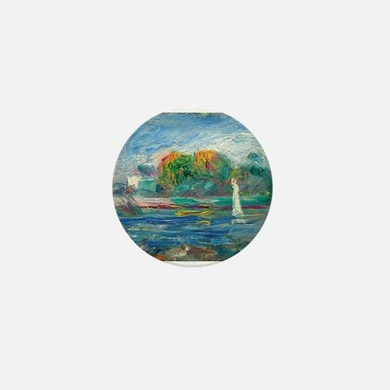 The Blue River by Auguste Renoir Mini Button