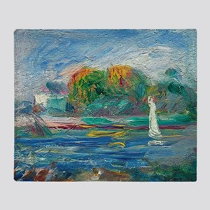 The Blue River by Auguste Renoir Throw Blanket