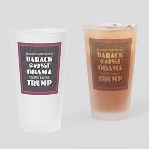 Survived Obama - Trump Drinking Glass