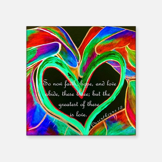 "Cute Corinthians 13 Square Sticker 3"" x 3"""