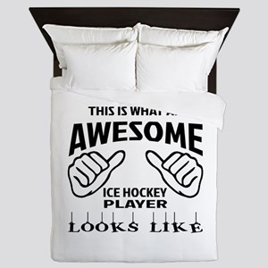 This is what an awesome Ice Hockey pla Queen Duvet