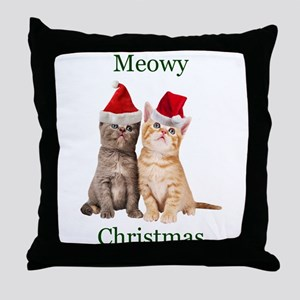 Meowy Christmas Kitten Throw Pillow