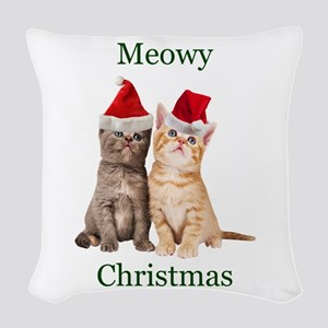 Meowy Christmas Kitten Woven Throw Pillow