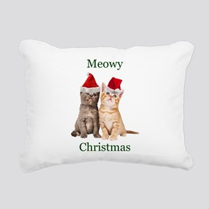 Meowy Christmas Kitten Rectangular Canvas Pillow