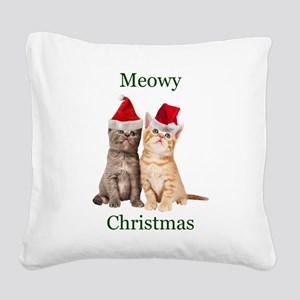 Meowy Christmas Kitten Square Canvas Pillow