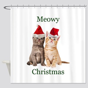 Meowy Christmas Kitten Shower Curtain