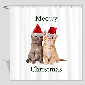 Meowy Christmas Kitten Shower Curtain