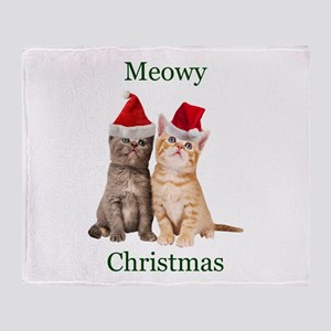 Meowy Christmas Kitten Throw Blanket