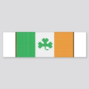 Cross Stitch Irish Flag with Shamro Bumper Sticker