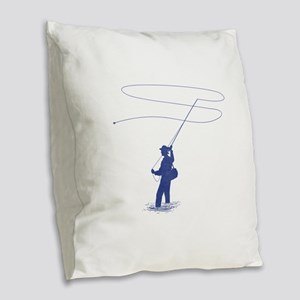 Flycasting Burlap Throw Pillow