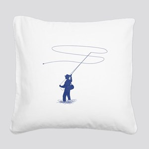 Flycasting Square Canvas Pillow