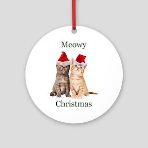 Meowy Christmas Kitten Round Ornament