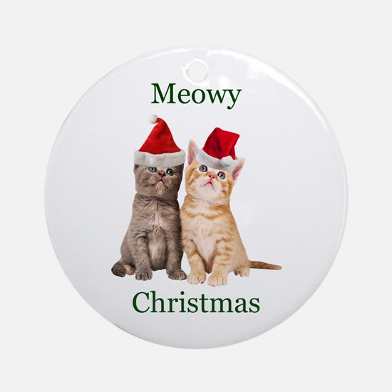 Meowy Christmas Kitten Round Ornament