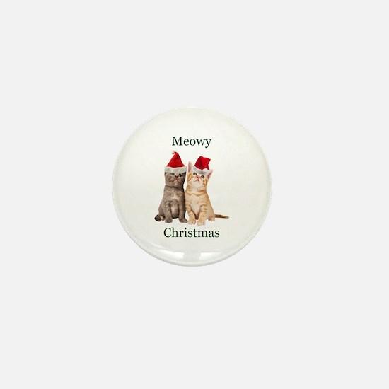 Meowy Christmas Kitten Mini Button