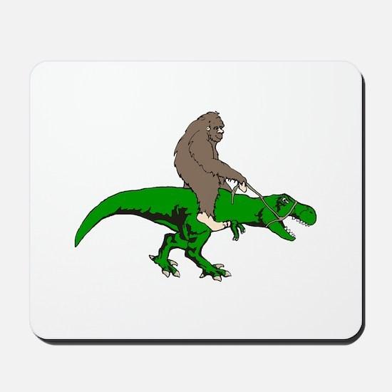 Bigfoot riding T rex Mousepad