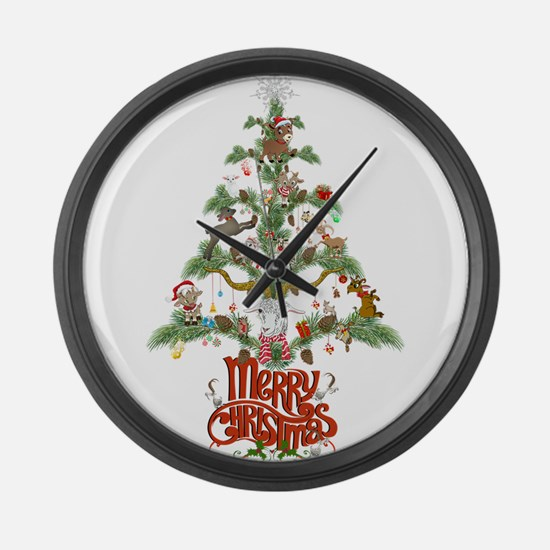 GOAT LOVERS CHRISTMAS TREE Large Wall Clock