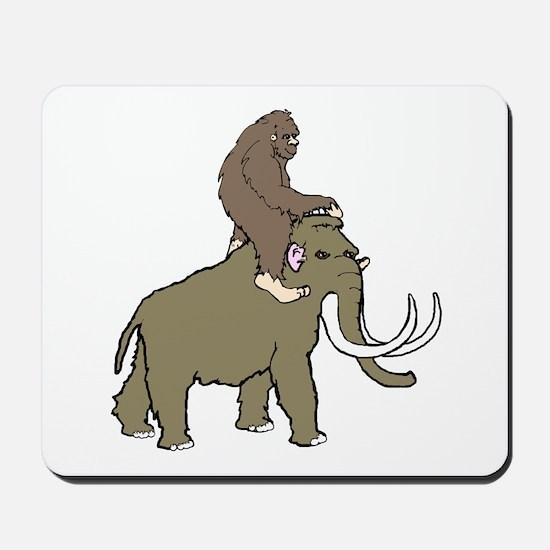 Bigfoot riding a woolly mammoth Mousepad