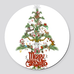 GOAT LOVERS CHRISTMAS TREE Round Car Magnet