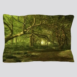 Fantasy Forest Painting Green Wood Pillow Case