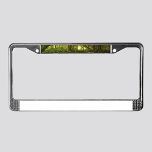 Fantasy Forest Painting Green License Plate Frame