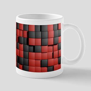 Abstract Black Red Modern 3D Tiles Mugs