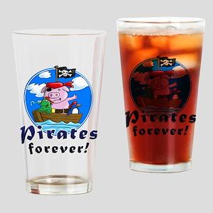 pirates forever pig, frog penguin Drinking Glass