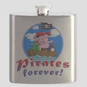 pirates forever pig, frog penguin Flask