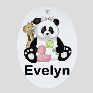 Evelyn's Sweet Panda Oval Ornament