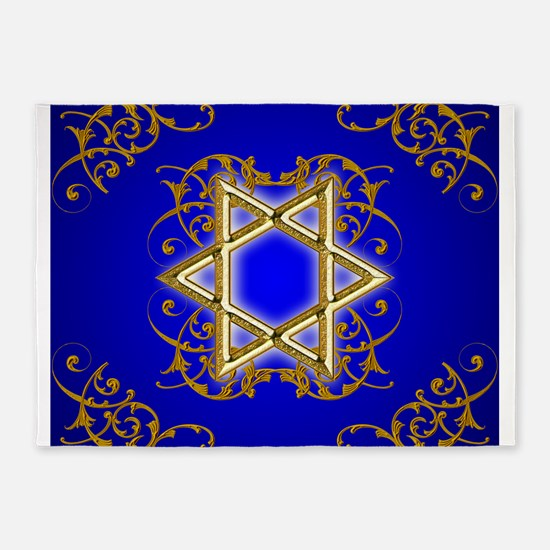 Gold Star of David 5'x7'Area Rug
