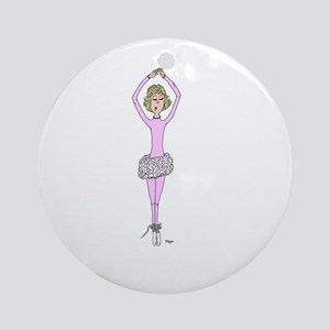 Nina Ballerina Cartoon Round Ornament