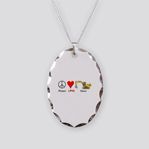 Peace Love Hoes Necklace Oval Charm