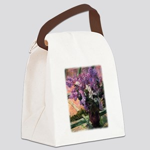 Lilacs in a Window by Mary Cassat Canvas Lunch Bag