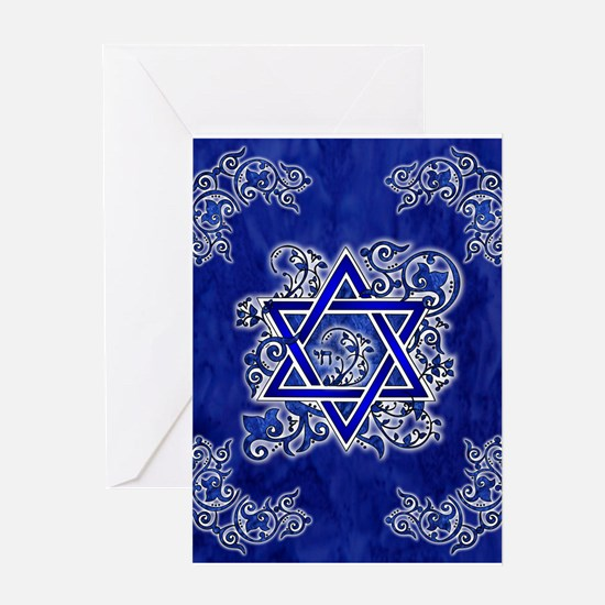 Denim Star of David Greeting Cards