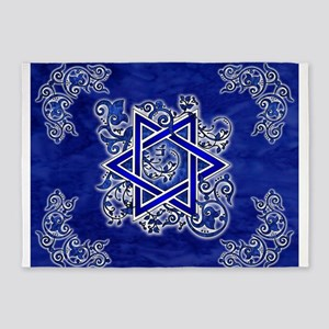 Denim Star of David 5'x7'Area Rug