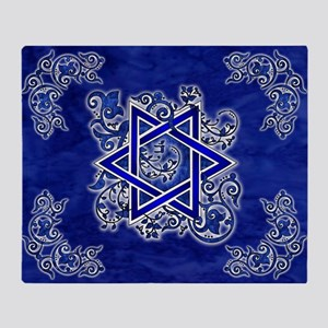 Denim Star of David Throw Blanket