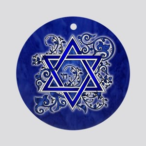 Denim Star of David Round Ornament