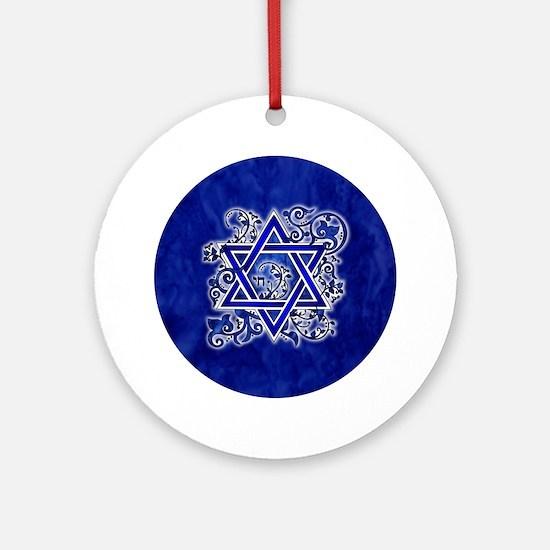Denim Star of David Round Ornament