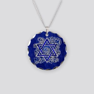 Denim Star of David Necklace