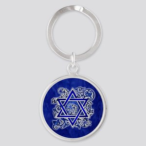 Denim Star of David Keychains