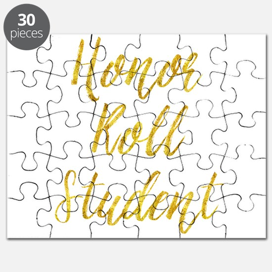 Honor Roll Student Gold Faux Foil Metallic Puzzle