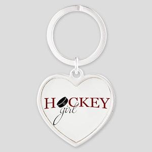 Hockey Girl Heart Keychain