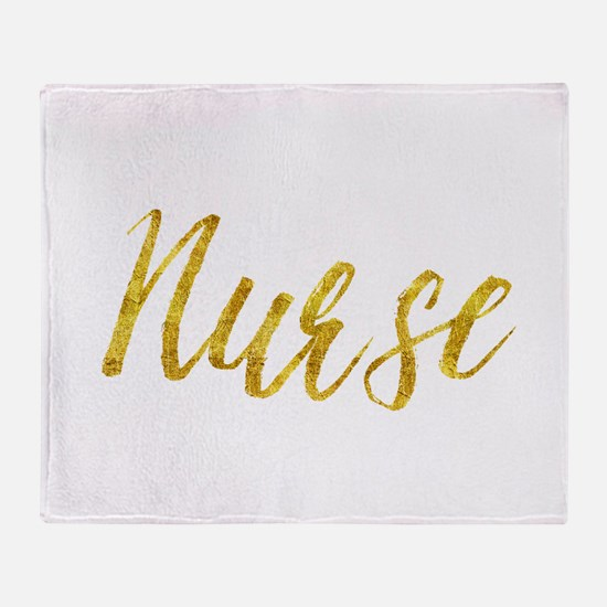 Nurse Gold Faux Foil Metallic Glitte Throw Blanket