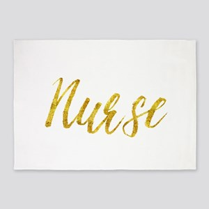 Nurse Gold Faux Foil Metallic Glitt 5'x7'Area Rug