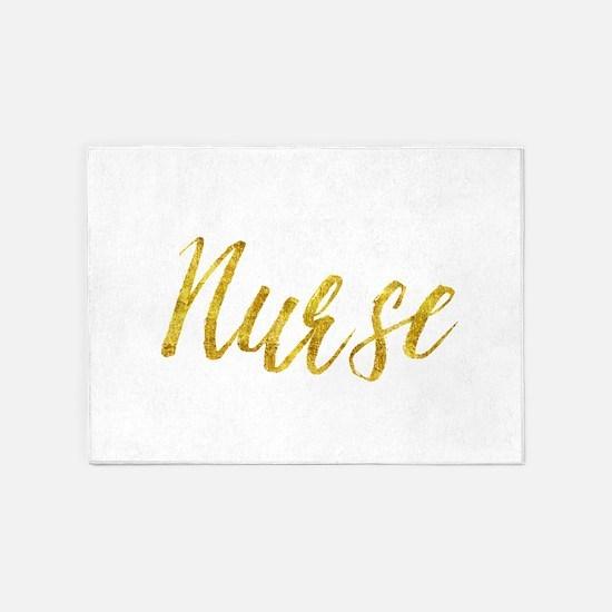 Nurse Gold Faux Foil Metallic Glitt 5'x7'Area Rug