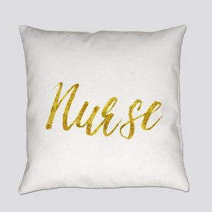 Nurse Gold Faux Foil Metallic Glit Everyday Pillow