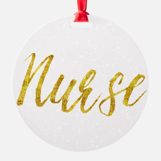 Nurse Gold Faux Foil Metallic Glitt Ornament