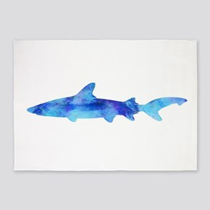 Vintage Shark Silhouette Purple Wat 5'x7'Area Rug